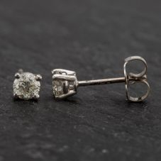 Second Hand White Gold 4 Claw Diamond Stud Earrings 4317013