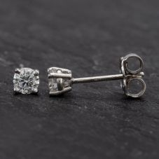 Second Hand White Gold 4 Claw Diamond Stud Earrings 4317018