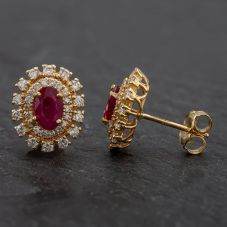 Second Hand Diamond and Ruby Stud Earrings 4317019