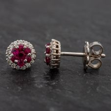 Second Hand 14ct White Gold Diamond Ruby Stud Earrings 4317020
