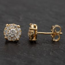 Second Hand 14ct Yellow Gold Diamond Cluster Stud Earrings 4317022