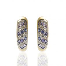 Second Hand 14ct Yellow Gold Diamond and Tanzanite Hoop Earrings