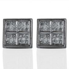Second Hand 14ct White Gold Square Princess Cut Diamond Set Cluster Earrings