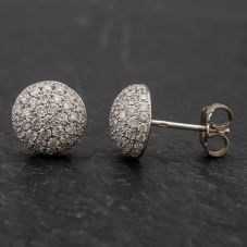 Second Hand 18ct White Gold Diamond Pave Stud Earrings 4317101