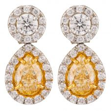 Second Hand Platinum 2.02ct Yellow Diamond Dropper Earrings