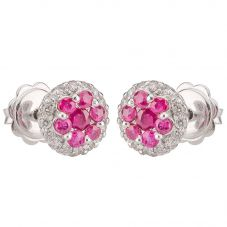 Second Hand 14ct White Gold Ruby and Diamond Round Earrings 4317105