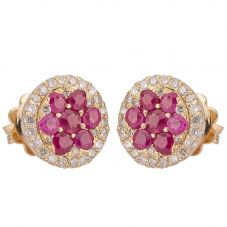 Second Hand 14ct Yellow Gold Ruby Diamond Round Cluster Earrings 4317108