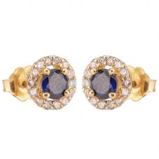 Second Hand 9ct Yellow Gold Sapphire and Diamond Earrings