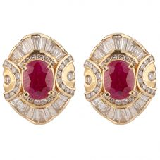 Second Hand 14ct Yellow Gold Ruby and Diamond Earrings