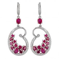 Second Hand 14ct White Gold Ruby and Diamond Earrings