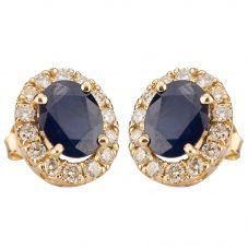 Second Hand 14ct Yellow Gold Sapphire and Diamond Earrings