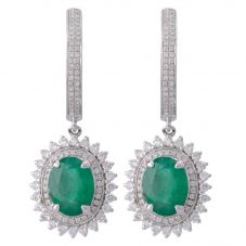 Second Hand 14ct White Gold Emerald and Diamond Hoop Earrings 4317122