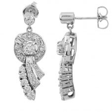 Second Hand 18ct White Gold Pavé Diamond  Earrings 4317144