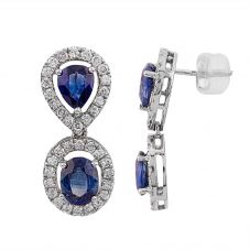 Second Hand 18ct White Gold 2.50ct Sapphire and Diamond Earrings