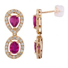 Second Hand 18ct Yellow Gold 1.80ct Ruby & 0.60ct Diamond Cluster Dropper Earrings 4317147