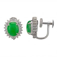 Second Hand Platinum 3.20ct Jade and Diamond Cluster Stud Earrings 4317150