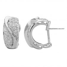 Second Hand 18ct White Gold Pave Diamond Half-Hoop Earrings 4317154