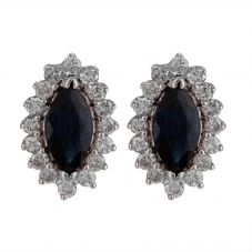 Second Hand 14ct White Gold Sapphire and Diamond Stud Earrings