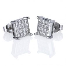 Second Hand 14ct White Gold Princess Cut Diamond Cluster Stud Earrings 4317835