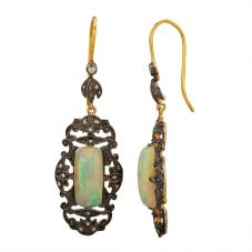 Second Hand Gold Plated Opal and Diamond Oblong Dropper Earrings