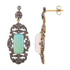 Second Hand Gold Plated Opal and Diamond Dropper Earrings