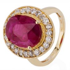 Second Hand 14ct Yellow Gold Ruby and Diamond Cluster Ring 4328025