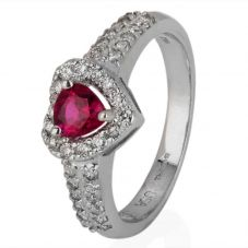 Second Hand 18ct White Gold Heart Cut Ruby and Diamond Cluster Ring