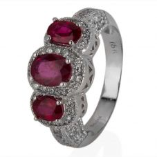 Second Hand 18ct White Gold Ruby and Diamond Triple Cluster Ring
