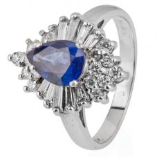 Second Hand 14ct White Gold Sapphire and Diamond Cluster Ring