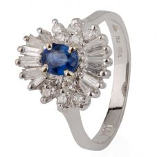 Second Hand 14ct White Gold Sapphire and Diamond Oval Cluster Ring 4328043