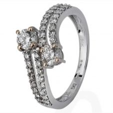 Second Hand 14ct White Gold Two Stone Diamond Crossover Ring 4328055