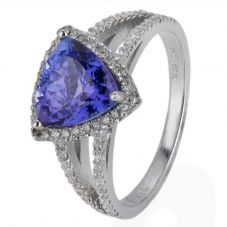 Second Hand 14ct White Gold Tanzanite and Diamond Cluster Ring 4328065