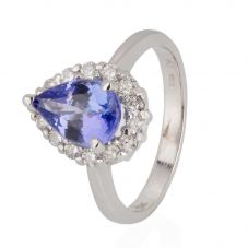 Second Hand 14ct White Gold Tanzanite and Diamond Pear Cluster Ring