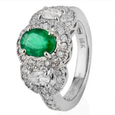 Second Hand 18ct White Gold Emerald and Diamond Triple Cluster Ring
