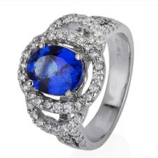 Second Hand 14ct White Gold Tanzanite and Diamond Cluster Ring 4328074