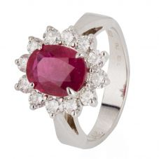 Second Hand 14ct White Gold Ruby and Diamond Cluster Ring 4328076