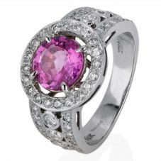 Second Hand 18ct White Gold Pink Sapphire and Diamond Cluster Ring 4328078