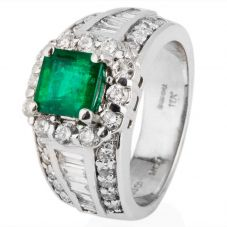 Second Hand 18ct White Gold Emerald and Diamond Cluster Ring