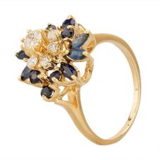 Second Hand 9ct Yellow Gold Sapphire and Diamond Flower Cluster Ring 4328095
