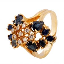 Second Hand 9ct Yellow Gold Sapphire and Diamond Ring 4328097