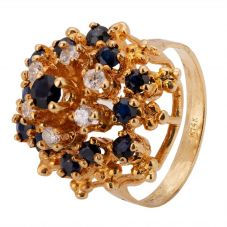 Second Hand 9ct Yellow Gold Sapphire Diamond Spray Cluster Ring 4328106