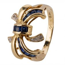 Second Hand 14ct Yellow Gold Sapphire and Diamond Bow Ring