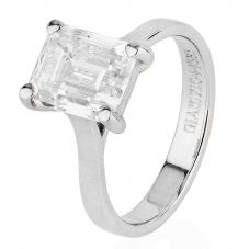 Second Hand Platinum 3.07ct Emerald Cut Diamond Solitaire Ring 4328129