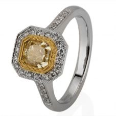 Second Hand 18ct White Gold Yellow and White Diamond Cluster Ring