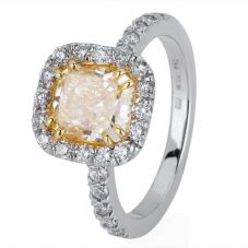 Second Hand 18ct White Gold Yellow Diamond Cluster Ring