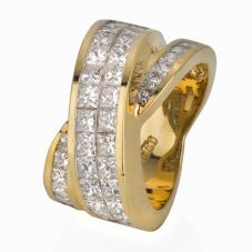 Second Hand 18ct Yellow Gold Diamond Twist Ring
