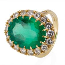 Second Hand 18ct Yellow Gold Emerald and Diamond Cluster Ring 4328167
