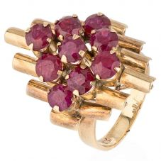 Second Hand 9ct Yellow Gold Elevated Ruby Cluster Ring
