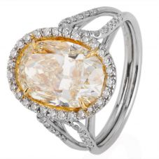 Second Hand Platinum 5.03ct Yellow Diamond Oval Cluster Ring