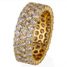 Second Hand 18ct Yellow Gold Three Row Diamond Full Eternity Ring